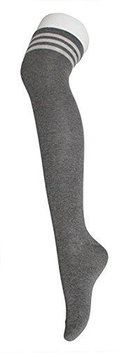 Womens Over Knee Stripe Socks Girls Thigh High Long Cosplay Socks Black White by Azue (Image #5)