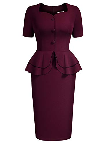 (AISIZE Women 1940s Vintage Sweetheart Ruffles Peplum Dress Large Burgundy)