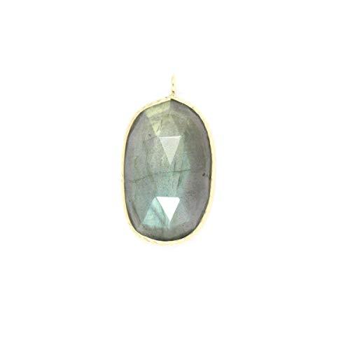 Labradorite Pendant (22x14 Freeform Rose Cut) Set In 14K Yellow Gold
