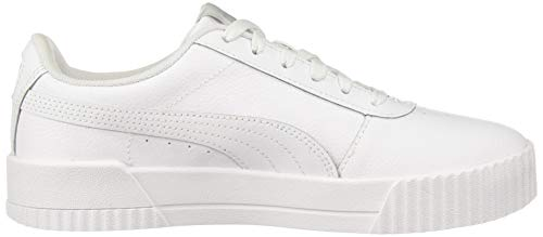 PUMA Women's Carina Sneaker, White White Silver, 11 M US