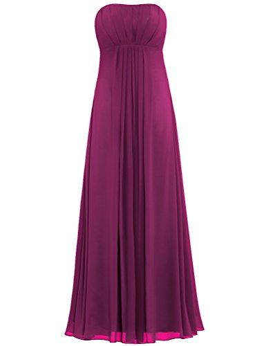 Empire Long Maroon Chiffon Gown Women's Strapless ANTS Dress Bridesmaid ZHtYYB