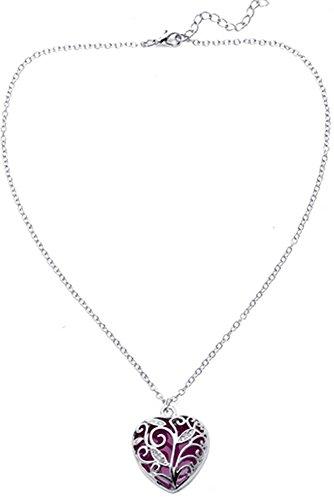 Big Heart Locket Glow in the Dark Necklace Jewelry Pendant Steampunk Fairy Magical (Purple) -