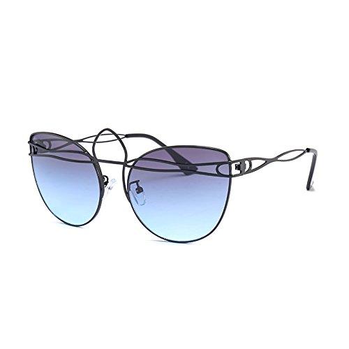 C8 Gafas Ojo Mujeres De G437 TIANLIANG04 Señoras Gafas Aleación Sol De Tonos Blue Vintage De Gafas C1 Black Hueco Bastidor Uv Gato InxSZUF