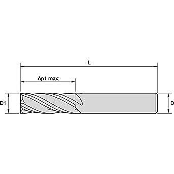 TiAlN Straight Shank RH Cut Carbide 4-Flute 20 mm Cutting Diameter 0.3 mm Chamfer WIDIA Hanita 25282000T038 VariMill 2528 GP Rough//Finish End Mill