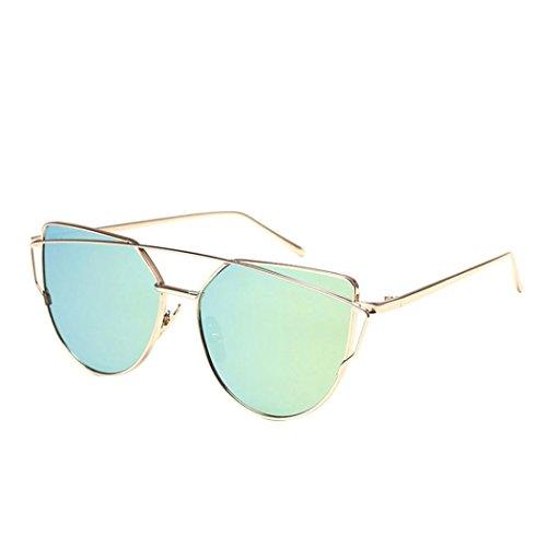 Poutres Femmes oeil de Métallique Vert Miroir Mode Lunettes Soleil de Bi Culater® Classique Chat Cadre Lunettes 5wqBIAH
