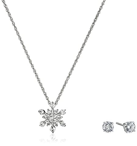 Sterling Silver and Cubic Zirconia Snowflake Pendant Necklace and Earrings Set (Sterling Snowflake Earrings)