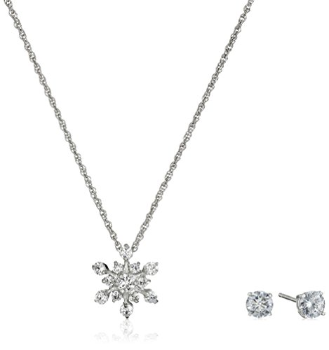 Sterling-Silver-and-Cubic-Zirconia-Snowflake-Pendant-Necklace-and-Earrings-Set