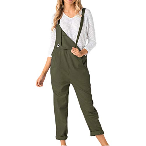 Thenxin Womens Loose Dungarees Overalls Suspender Jumpsuits Solid Color Pants Trousers Playsuit(Green,M)