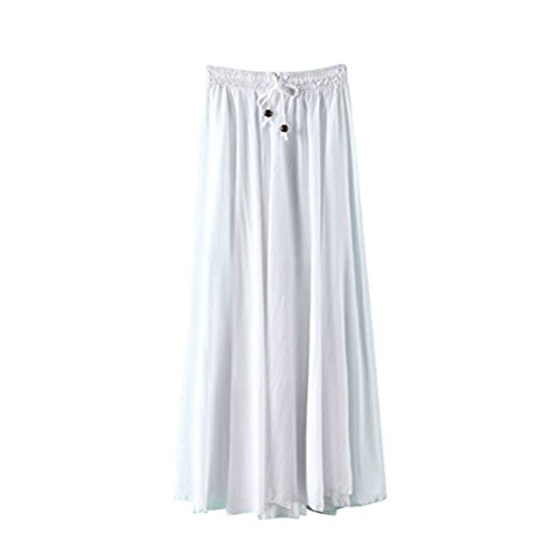 J.cotton Women's Hollow Style Flower Print Female Tulle Skirt Chiffon Skirt Dress Summer Beach Skirts High Waist Sexy A-line Candy Color Flared Pleated Casual Hem Skaters Stretch Plain Jersey Skirt Size M (White)