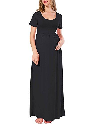 long black maternity maxi dress - 8
