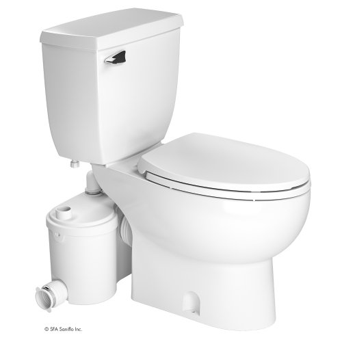 Saniflo 013-087-005 Two Piece Elongated Bowl Toilet With Grinder Pump, SaniBest Collection, White Finish