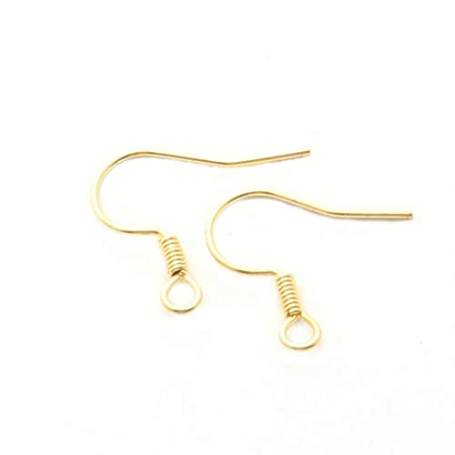 - Gold Plated Brass Fish Hook Earring Findings Ear- Nickel Free (No Bead)- 15mm
