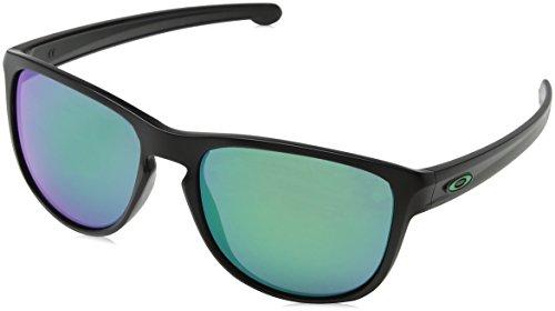 Oakley Men's Sliver R Non-Polarized Iridium Sunglasses, Matte Black with Jade Iridium, 57 ()