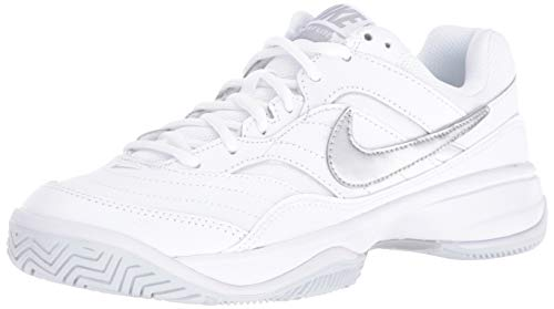 (Nike Women's Court Lite Tennis Shoe, White/Metallic Silver/Medium Grey, 8.5 Regular US)