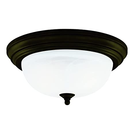 ad381a706e0 Westinghouse Lighting 64290 11-Inch One-Light Flush Mount Fixture, Oil  Rubbed Bronze with Frosted White Alabaster Globe - Flush Mount Ceiling  Lights ...
