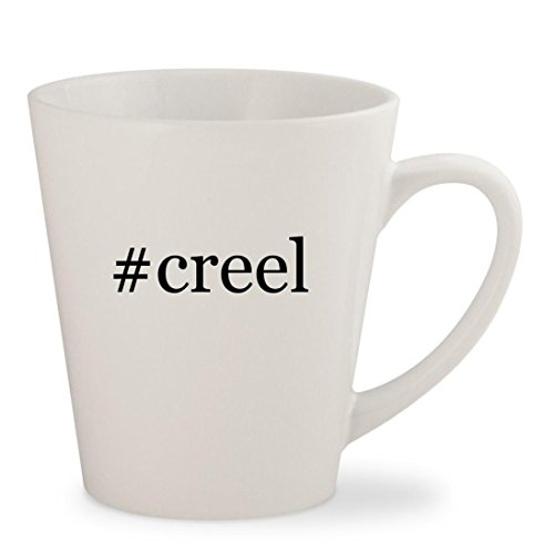#creel - White Hashtag 12oz Ceramic Latte Mug Cup (Creel Fishing Antique Wicker)