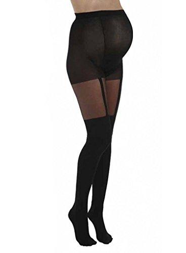Pamela Mann Maternity Plain Stripe Suspender Tights - The Hosiery Outlet-S/M-Black (Outlet-männer)