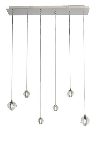 ET2 E24505-91PC Harmony 6-Light LED Linear Pendant, Polished Chrome Finish, Bubble Glass, G4 LED Bulb, 40W Max., Dry Safety Rated, 2900K Color Temp., Low-Voltage Dimmable, Glass Shade Material, 7670 Rated Lumens