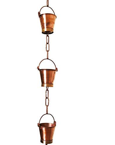 U-nitt 8-1/2 feet Pure Copper Rain Chain: Bucket Cup 8.5 ft Length (Copper Rain Chain Extensions)