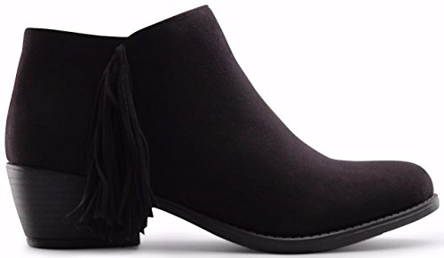 Marco Republic Lisbon Medium Low Heels Ankle Booties Boots - (Black) - 9 (Womens Boots Black)