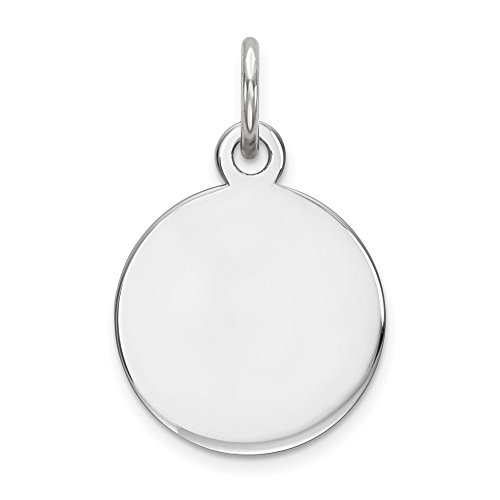 Sterling Silver Engraveable Round Polished Front Disc Charm Pendant Fits Up To 3mm