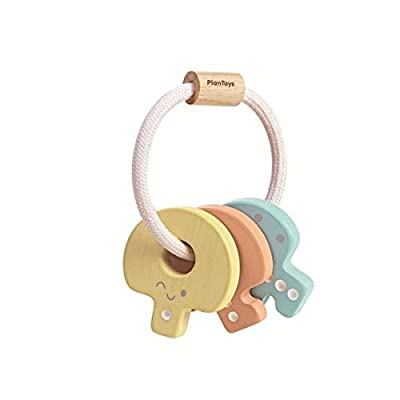PlanToys Wooden Key Rattle and Teether Toy (5251) | Pastel Color Collection | Sustainably Made from Rubberwood and Non-Toxic Paints and Dyes: Toys & Games