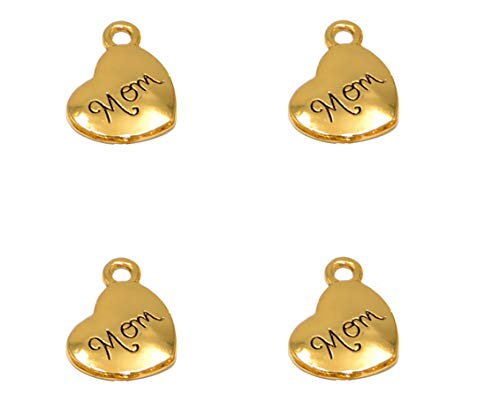 Yansanido Pack of 40 Alloy Antique Love Heartmom14x18mm Charms Pendants for Making Bracelet and Necklace (mom 40pcs Gold)