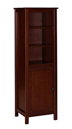 MUSEHOMEINC California Farmhouse Wood TV Tower/Bookcase Media Storage/Multimedia Organizer Shelf Cabinet and Wood Door,Espresso Finish