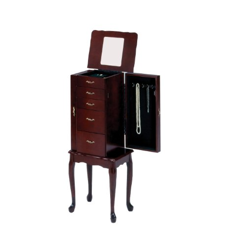 Bernards Small Jewelry Armoire, Cherry (Small Mahogany Jewelry Armoire)