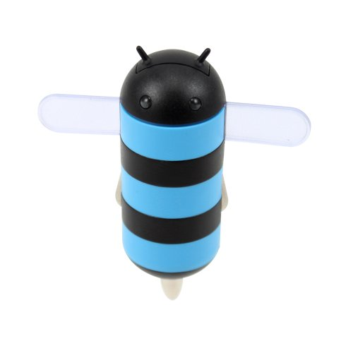 Gen HoneyDru Android themed 2A USB Car Charger with Micro-USB Coil Cable - Blue/Black by GEN
