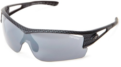 100701 Shield Sunglasses,Carbon Frame/Grey, Red & Clear Lens,One Size (Tifosi Logic Sunglasses)