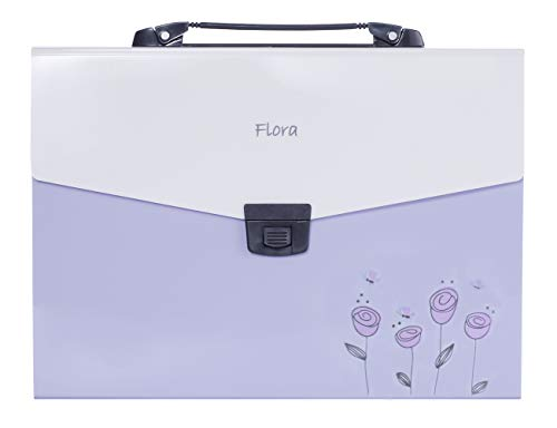 Snail&Hawk 13-Pockets Poly Accordion Expanding-File-Folder with Handle and Tabs,A4 Size,Purple Flora