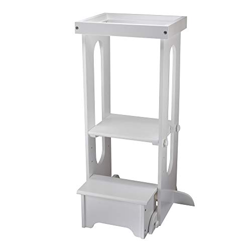(Little Partners Explore n Store Learning Tower Kids Adjustable Height Kitchen Step Stool for Toddlers or Any Little Helper - White)