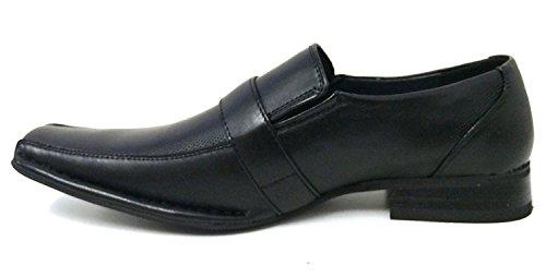 Alberto Fellini Santoni Heren Dress Schoenen Casual Instappers Elastische Slip Op Mode Gesp Italiaanse Stijlen, Zwart, Wit, Blauw, Bruin Zwart