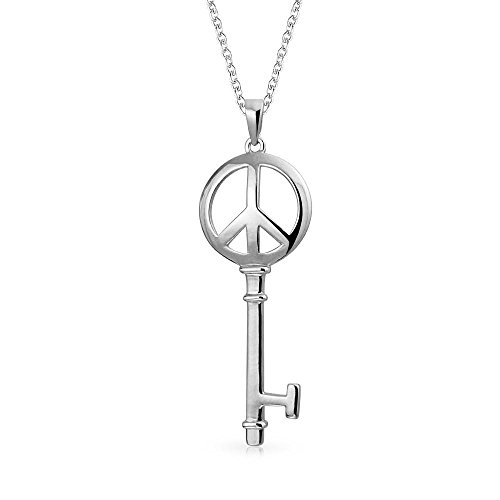 Bling Jewelry Peace Sign Key Pendant Sterling Silver Necklace 18 Inches Peace Bling