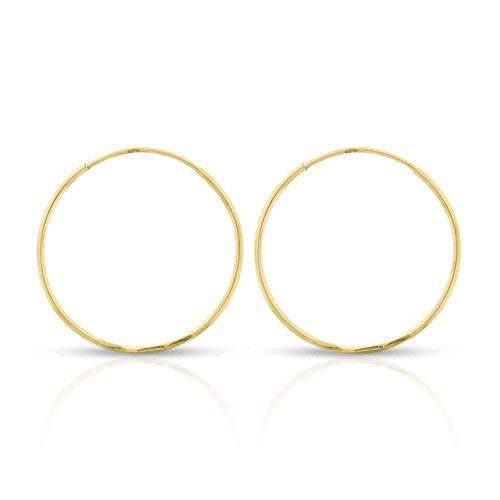 14k Yellow Gold Women's Endless Continuous Round Tube Hoop Earrings 1mm Thick 10mm - 20mm, Basic & Diamond-Cut (18mm Diamond-Cut)
