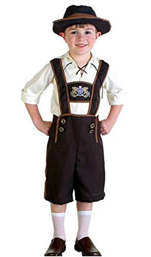 JXUFUFOO Kids Boy Lederhosen Halloween Costume Oktoberfest Bavarian Uniform Shorts with shirt and Hat -