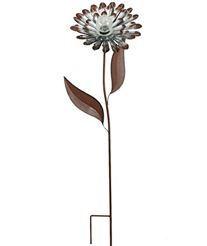 Galvanized Stick (Galvanized Floral Garden Stake Outdoor Glow in Dark Water Proof Metal Stick Art Ornament Decor for Lawn Yard Patio by CEDAR HOME, 12