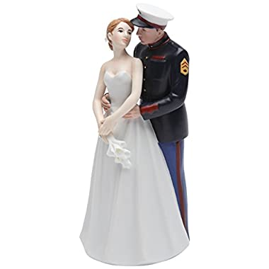 Cosmos Gifts 33267 Ceramic United States Marine Corps Wedding Couple Figurine, 7-Inch