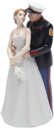 Cosmos Gifts 33267 Ceramic United States Marine Corps Wedding Couple Figurine, 7-Inch (Marines Cake Topper)