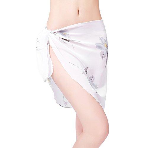 ChinFun Women's Sarong Wrap Beach Swimwear Chiffon Cover Up Short Pareo Bikini Swimsuit Wrap Skirt Bathing Suit Shawl Semi-Sheer Translucent Pattern White Flowers