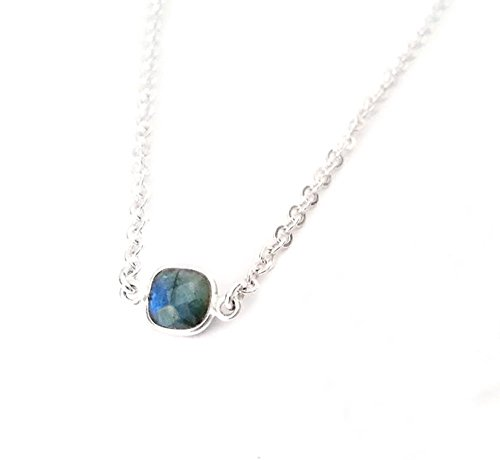 Sterling Silver Labradorite Necklace for Layering Cushion Cut Faceted Gemstone Pendant Accent