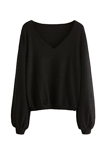 Black Ribbed Sweater (Milumia Women's Bishop Sleeve Ribbed Basic Pullovers Sweater Large Black)