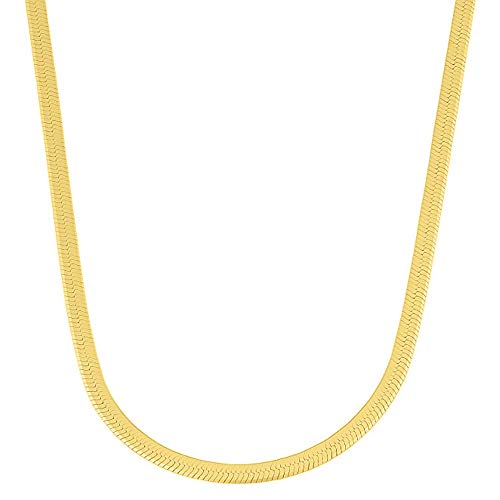 Verona Jewelers Sterling Silver 2.5MM, 3.3MM Italian Herringbone Flat Snake Magic Chain -Gold Plated Herringbone Chain Necklace, Gold Over Silver Necklace for Men and Women (20, -
