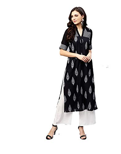 Women Black & White Printed Straight Kurta By Dream Angel Fashion (XX-Large-42)