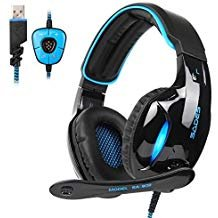 SADES Newest SA902 7.1 Channel Virtual Surround Sound USB Gaming Headset Over-ear Headphones with Noise Isolating Mic LED Light for PC Mac Computer Gamers(Black - Desktop Headset