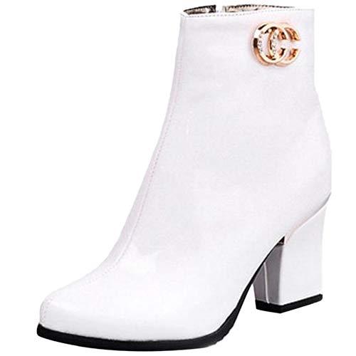 JOJONUNU Women Block Heel Ankle Boots Zip White