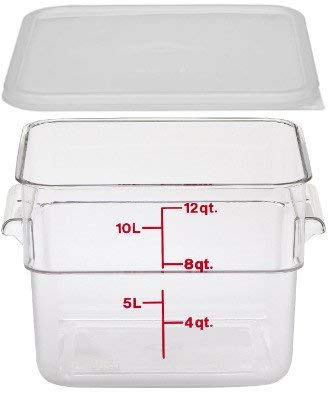 - Cambro 12SFSCW135 Camwear Polycarbonate Square Food Storage container, 12 Quart With Lid
