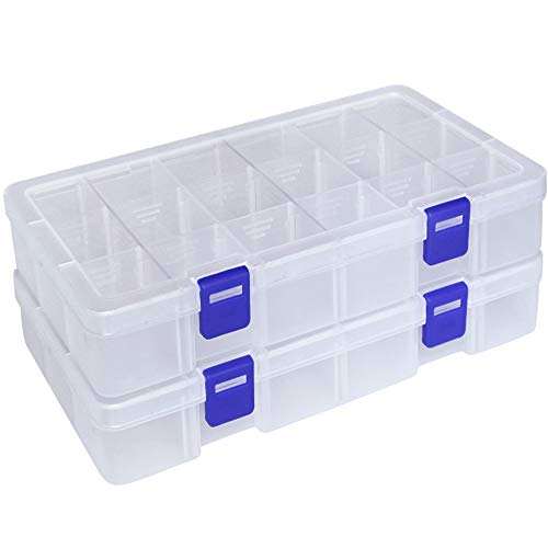 DUOFIRE Plastic Organizer Container Storage Box Adjustable Divider Removable Grid Compartment for Jewelry Beads Earring Tool Fishing Hook Small Accessories(18 grids, White X 2) ()