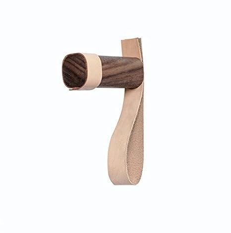 anaan Belt Diseño Perchero de Pared Perchero para Abrigos Gancho de Pared de Madera Maciza con Cuero Decorativos para Pared (1, con Mango de Cuero)